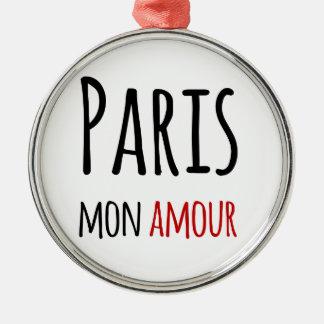 Paris, Mon amour Silver-Colored Round Decoration
