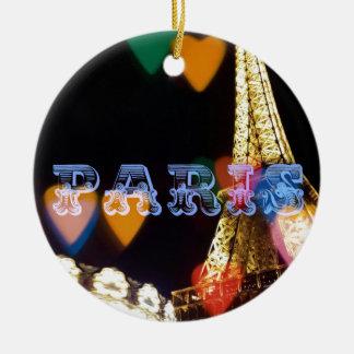paris neon hearts lights ceramic ornament