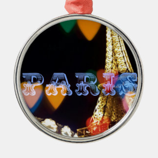 paris neon hearts lights metal ornament