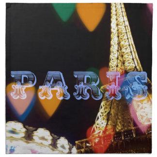 paris neon hearts lights napkin