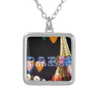 paris neon hearts lights silver plated necklace