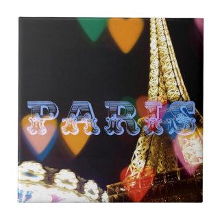 paris neon hearts lights tile