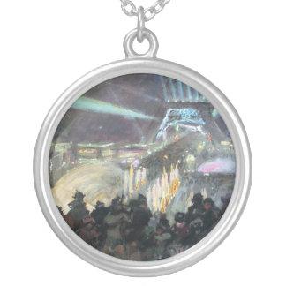 Paris Night Fred Money Painting Round Pendant Necklace
