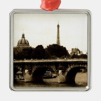 Paris on the Square Silver-Colored Square Decoration