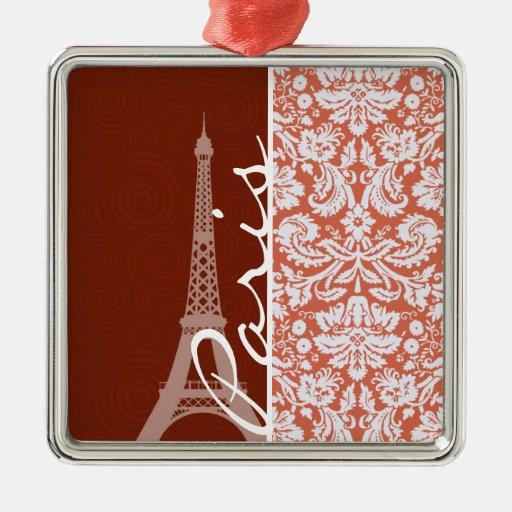 Paris; Orange Damask Christmas Ornament