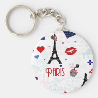 Paris pattern with Eiffel Tower Basic Round Button Key Ring