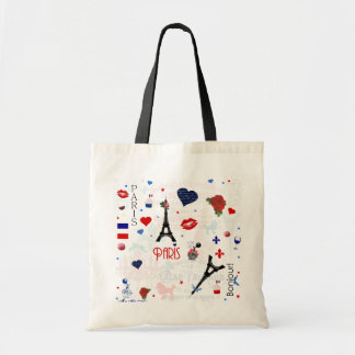 Paris pattern with Eiffel Tower Budget Tote Bag