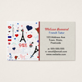 Paris pattern with Eiffel Tower Business Card