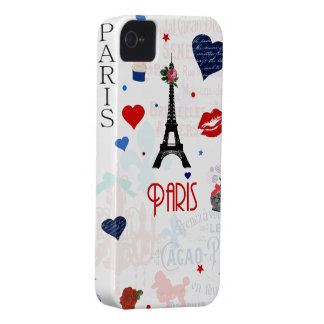 Paris pattern with Eiffel Tower iPhone 4 Case-Mate Case
