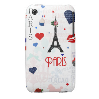 Paris pattern with Eiffel Tower iPhone 3 Cases
