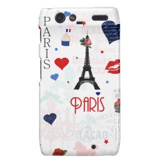 Paris pattern with Eiffel Tower Motorola Droid RAZR Covers
