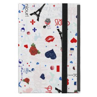 Paris pattern with Eiffel Tower iPad Mini Cover