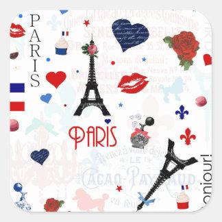 Paris pattern with Eiffel Tower Square Sticker