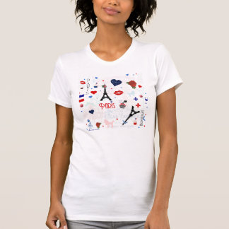 Paris pattern with Eiffel Tower T Shirt