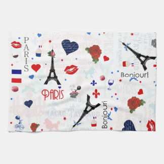 Paris pattern with Eiffel Tower Tea Towel