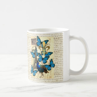 Paris, peacock and butterflies coffee mug
