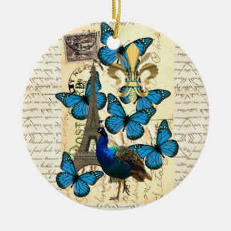 Paris, peacock and butterflies Double-Sided ceramic round christmas ornament