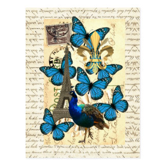 Paris, peacock and butterflies postcard