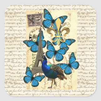 Paris, peacock and butterflies square sticker