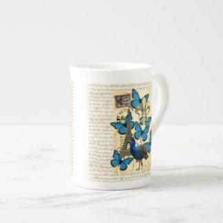 Paris, peacock and butterflies tea cup
