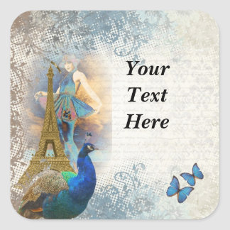Paris peacock collage square sticker