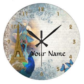 Paris peacock collage wallclocks