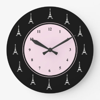 Paris Pink and Black Eiffel Tower Wallclocks