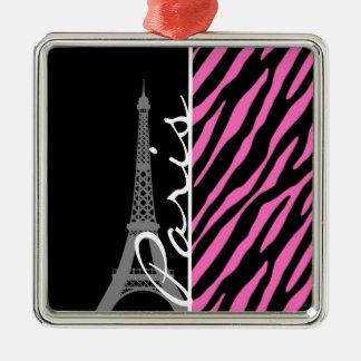 Paris; Pink & Black Zebra Print Silver-Colored Square Decoration