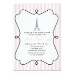 Paris Pink Eiffel Tower Bridal Shower 5x7 Paper Invitation Card