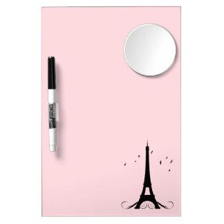 Paris Pink Eiffel Tower Dry Erase Board With Mirror