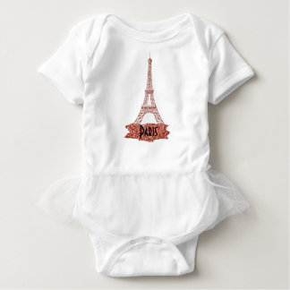Paris Pink Eiffel Tower Glitter Look Baby Bodysuit
