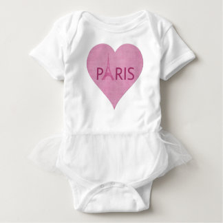 Paris Pink Eiffel Tower Heart Baby Bodysuit