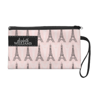 Paris Pink Eiffel Tower Pattern Wristlet Purse
