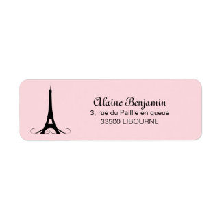 Paris Pink Eiffel Tower Return Address Label