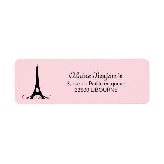 Paris Pink Eiffel Tower Return Address Label