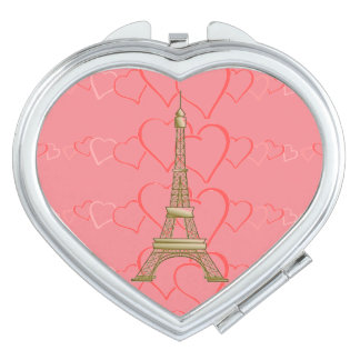 Paris Pink Hearts Eiffell Tower Compact Mirror