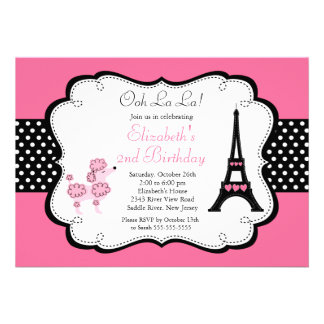 Paris Pink Poodle Birthday Party Invitations