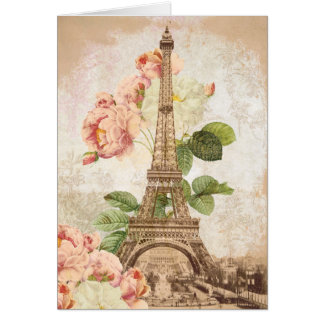 Paris Pink Rose Vintage Romantic Card