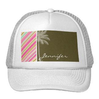 Paris; Pink & Seafoam Striped Mesh Hat