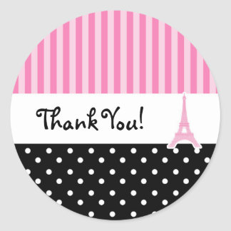 Paris Polka Dot & Pink Striped Party Sticker