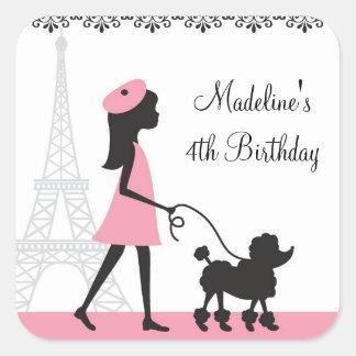 Paris Poodle Birthday Stickers