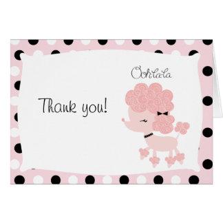 Paris Poodle Pink Dot Folded Thank you Card