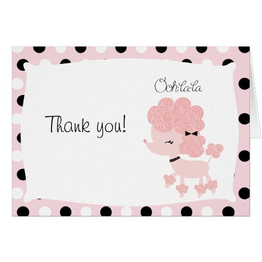 Paris Poodle Pink Dot Folded Thank you Card