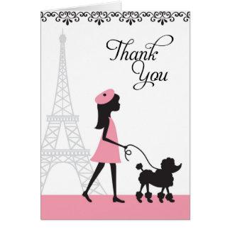 Paris Poodle Thank You Cards