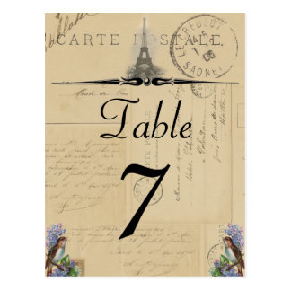 Paris Postcard Bird on Lilacs Table Number