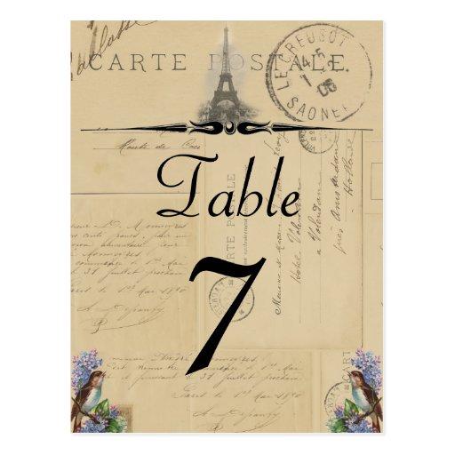 Paris Postcard Bird on Lilacs Table Number