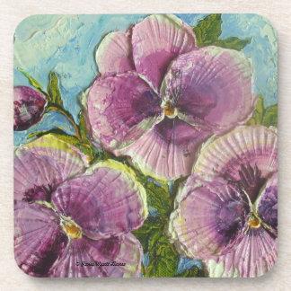 Paris' Purple Pansies Coaster
