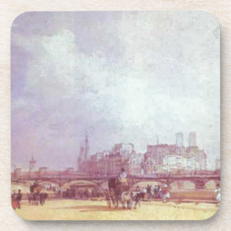Paris. Quai du Louvre. by Richard Parkes Bonington Beverage Coaster