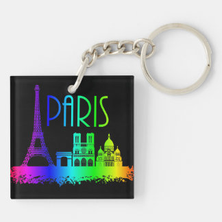 Paris Rainbow Monuments Eiffel Tower Double-Sided Square Acrylic Key Ring