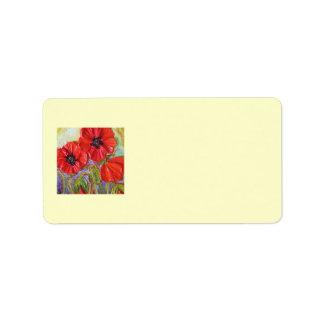 Paris' Red Poppies II Address Label